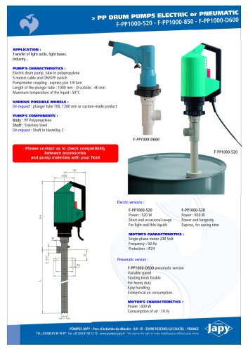 PP drum pumps: F-PP1000-520 - F-PP1000-850 - F-PP1000-D600