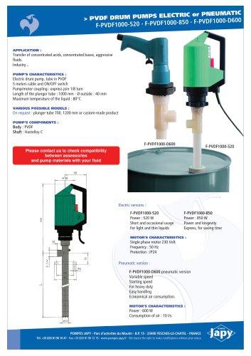 PVDF drum pumps: F-PVDF1000-520 - F-PVDF1000-850 - F-PVDF1000-D600