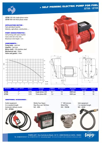 Self priming electric pump for fuel: JET08 - JET09