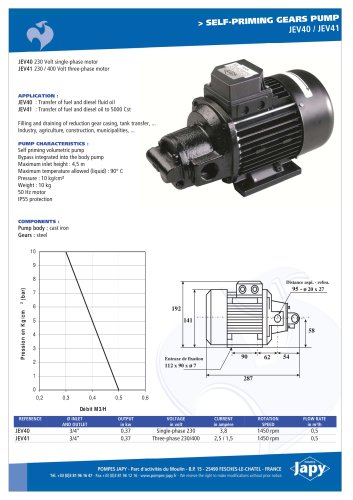 Self priming gears pump Fuel-Diesel oil: JEV40 - JEV41