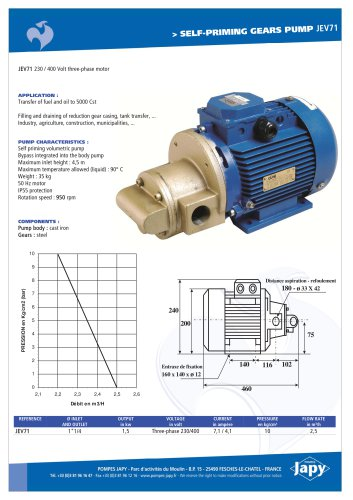 Self priming gears pump Fuel-Oil: JEV71