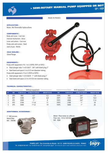 Semi rotary manual pump: EP - FEP