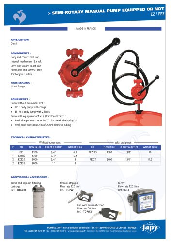 Semi rotary manual pump equipped or not for diesel: EZ - FEZ