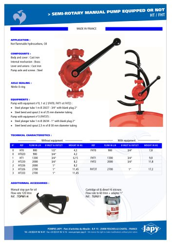 Semi rotary manual pump: HT - FHT