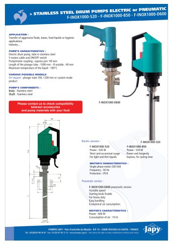 Stainless steel drum pumps: F-INOX1000-520 - F-INOX1000-850 - F-INOX1000-D600