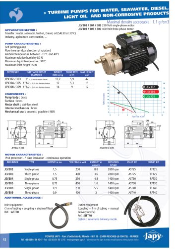 Turbine pump for water: JEV302 to JEV309