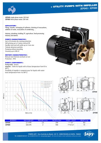 Utility pumps with impeller: JEP040 - JEP080