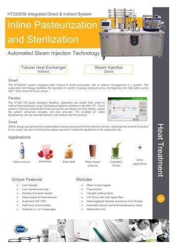OMVE HT220DSI Laboratory UHT/HTST system