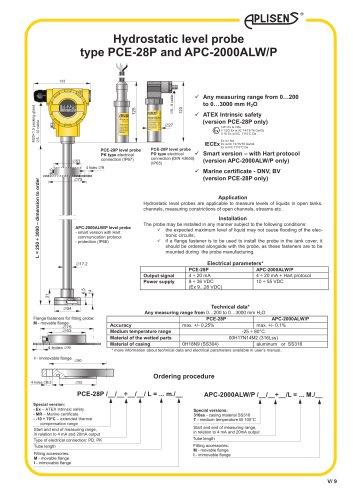 Hydrostatic level probe type PCE-28P and APC-2000ALW/P