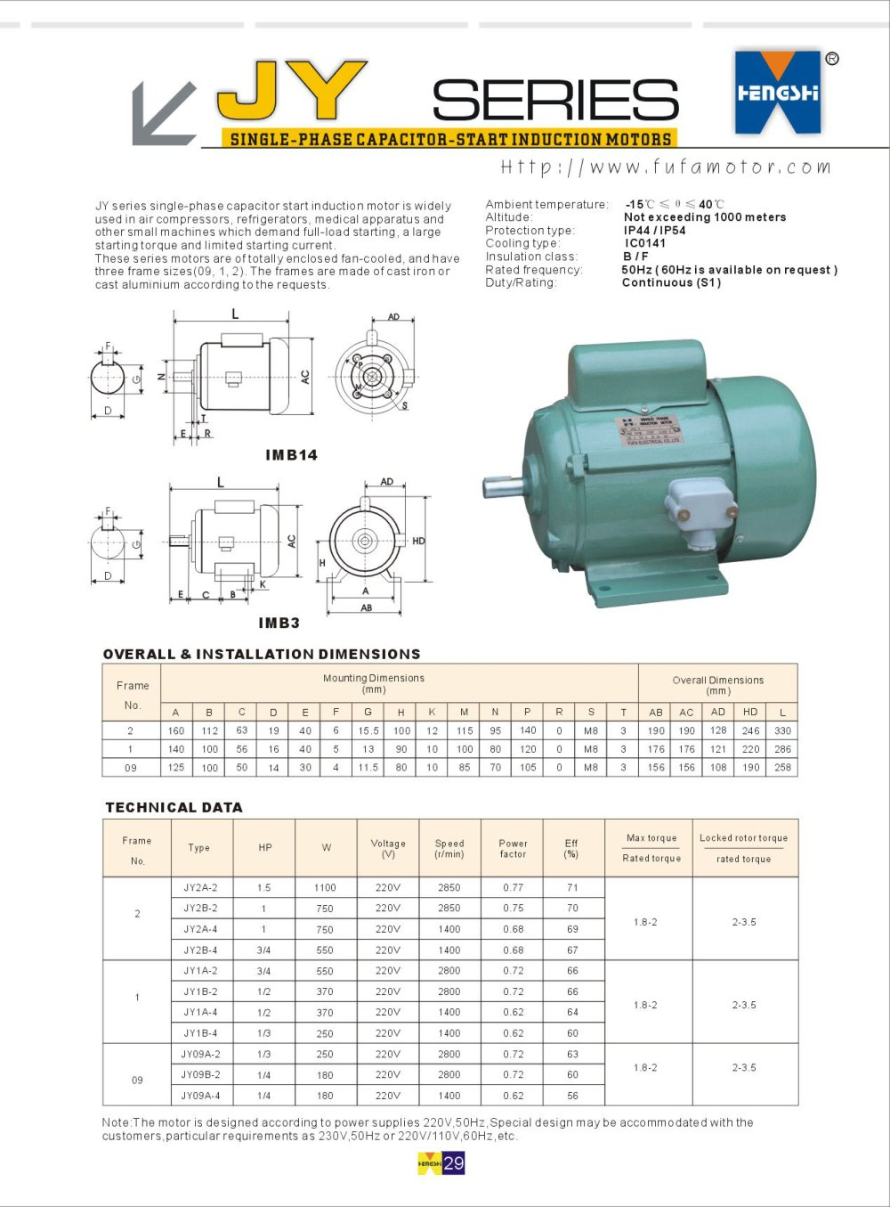 Jy Series Single Phase Capacitor Start Induction Motors Fufa Motor Wiring 1 Pages