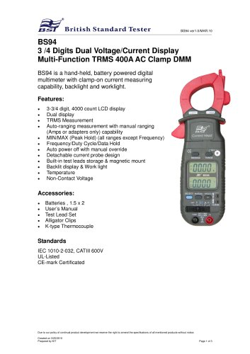 3 /4 Digits Dual Voltage/Current Display Multi-Function TRMS 400A AC Clamp DMM