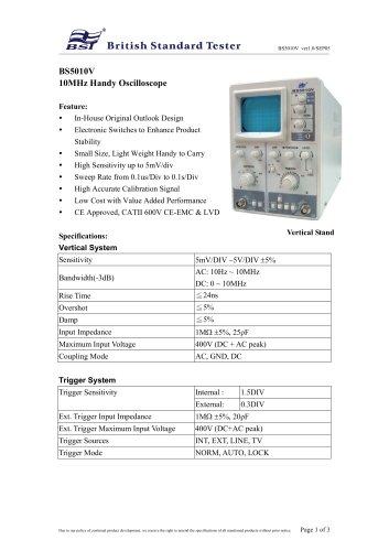 BS5010V 10MHz Handy Oscilloscope