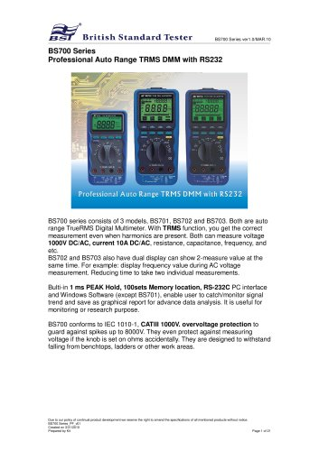 BS700 Series Professional Auto Range TRMS DMM with RS232