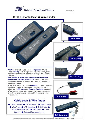 BT601 LAN Cable / Wire Tester