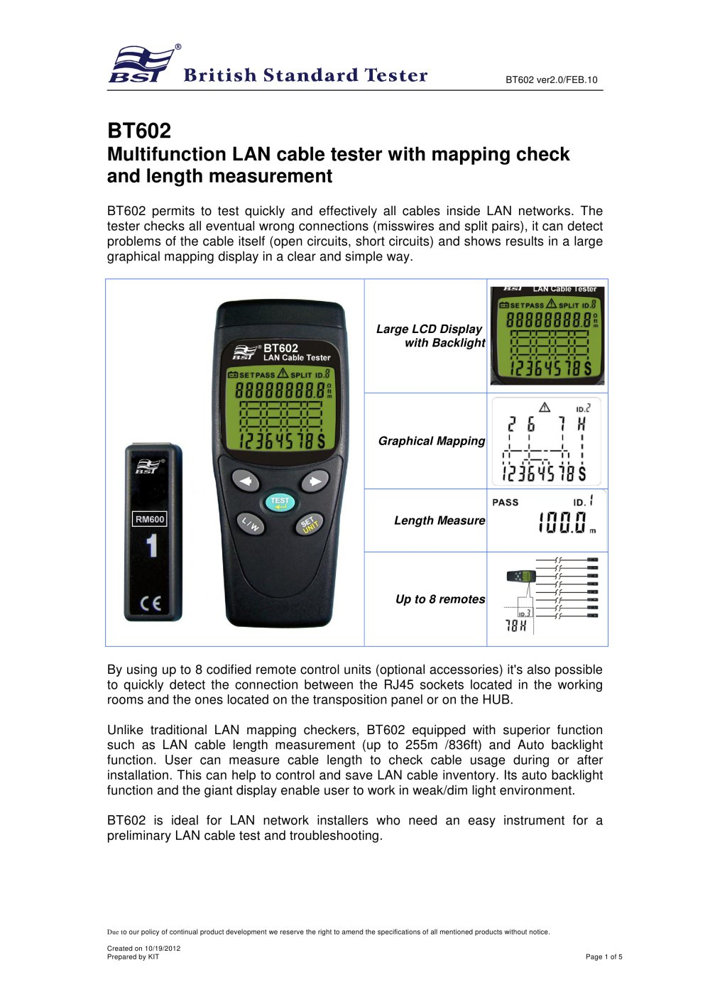 Bt602 Lan Cable Wire Tester Bst Caltek Industrial Ltd Pdf Electronic Circuits Troubleshooting 1 5 Pages