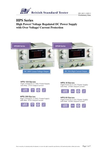 HPS SERIES - HIGH POWER/ VOLTAGE REGULATED DC POWER SUPPLY WITH OVER VOLTAGE/ CURRENT PROTECTION