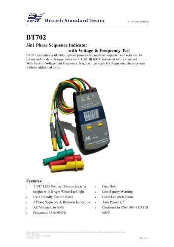 Phase Sequence Indicator BT702