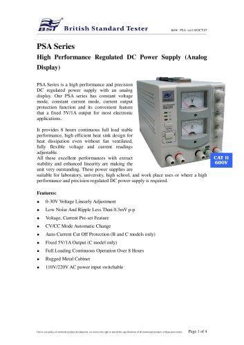 PSA Series High Performance Regulated DC Power Supply (Analog Display)