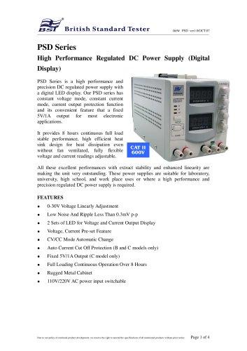 PSD Series High Performance Regulated DC Power Supply (Digital Display)