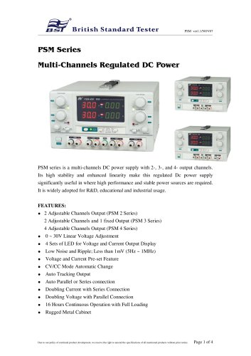 PSM Series Multi-Channels Regulated DC Power