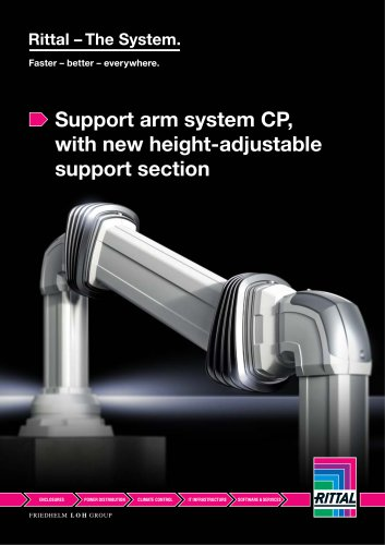Support arm system CP, with new height-adjustable support section