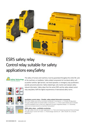 ESR5 safety relay Control relay suitable for safety applications easySafety