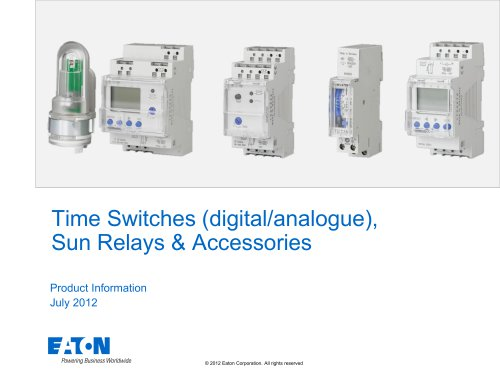 Time Switches (digital/analogue),  Sun Relays & Accessories