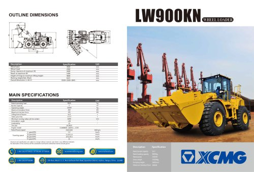 XCMG 9Ton wheel loader LW900KN construction