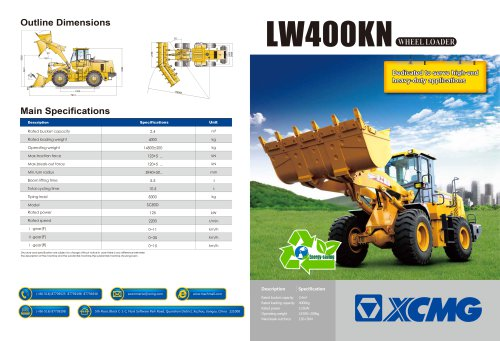XCMG  wheel loader LW400KN construction