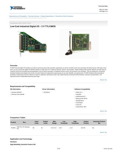 Low-Cost Industrial Digital I/O – 5 V TTL/CMOS