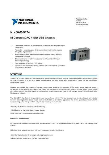 NI_cDAQ-9174 - NATIONAL INSTRUMENTS - PDF Catalogs