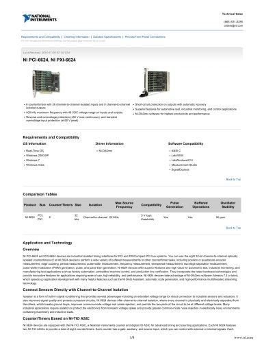 NI PCI-6624, NI PXI-6624