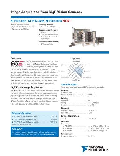 NI PCIe-8235 PCI Express Quad-Port GigE Vision Frame Grabber