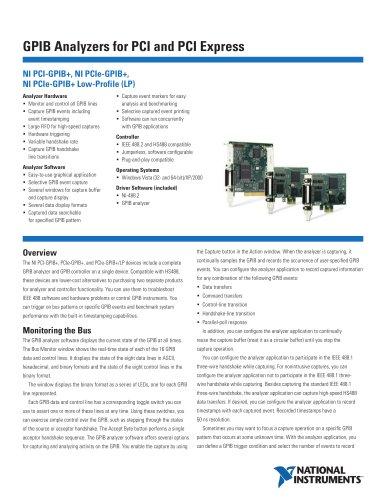 NI PCIe-GPIB+ Low-Profile Low-Profile PCI Express GPIB Interface and Analyzer
