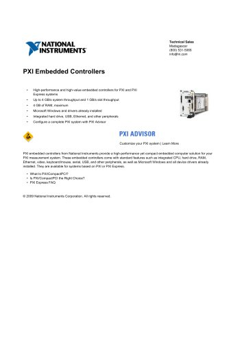PXI Embedded Controllers