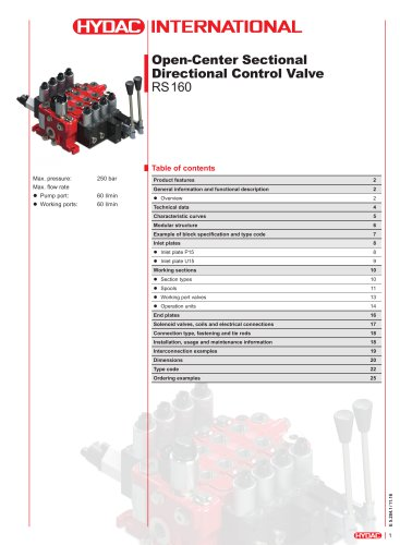 RS 160-EH Open-Center Sectional Directional Control Valve