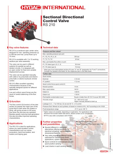 RS 210 Sectional Directional Control Valve