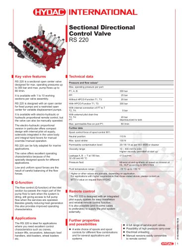 RS 220 Sectional Directional Control Valve