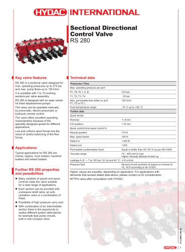 RS 280 Sectional Directional Control Valve