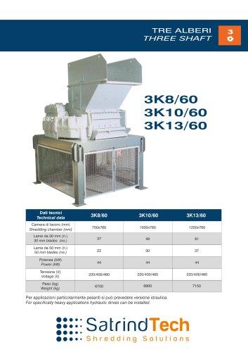 THREE SHAFT-SHREDDER-3K 60HP SERIES-SATRINDTECH SRL