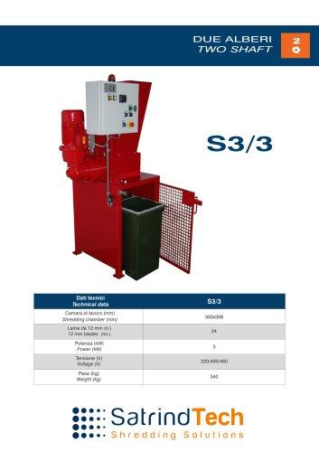TWO SHAFT-SHREDDER-S3-3HP SERIES-SATRINDTECH SRL