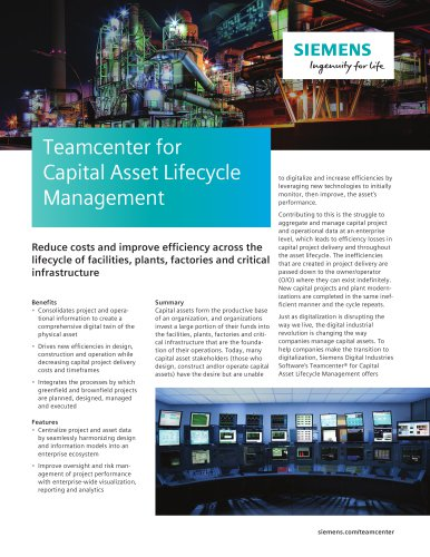 Teamcenter for Capital Asset Lifecycle Management