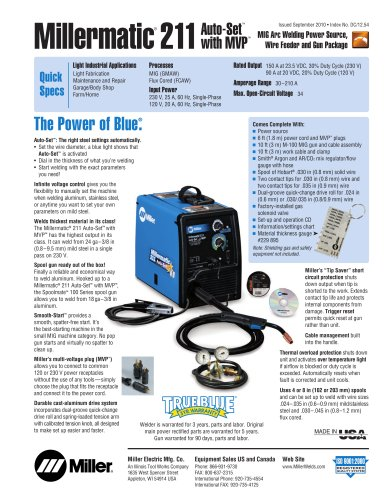 Millermatic 211 Auto Set With Mvp Miller Electric Mfg Pdf Catalogs Technical Documentation Brochure