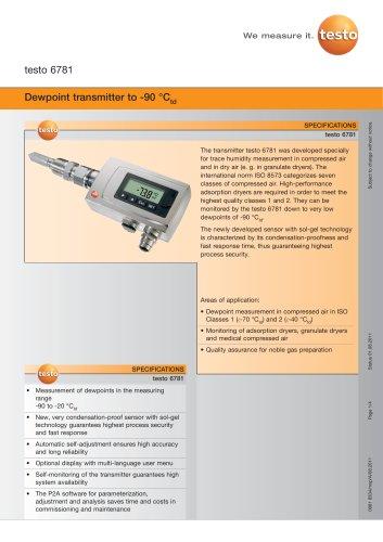 Dewpoint transmitter to -90 °Ctd - testo 6781