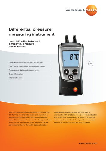 Differential pressure measuring instrument - testo 510