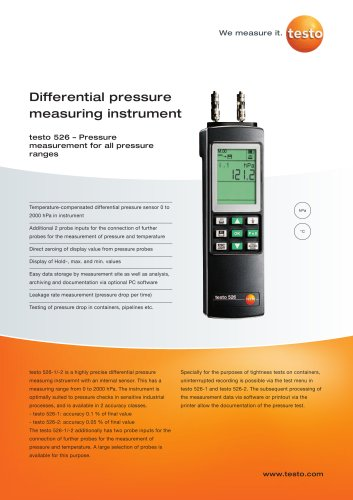 Differential pressure measuring instrument - testo 526
