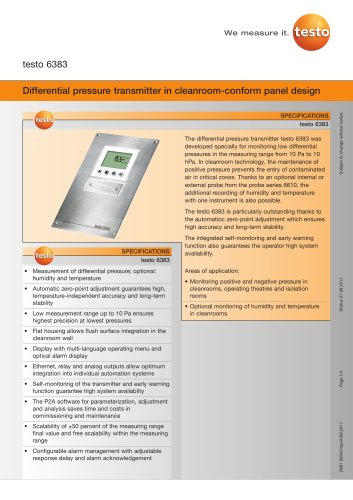 Differential pressure transmitter in cleanroom-conform panel design - testo 6383