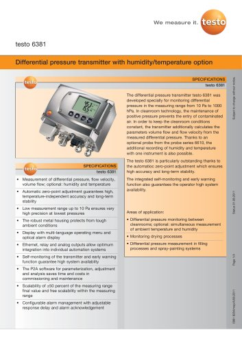Differential pressure transmitter with humidity/temperature option - testo 6381