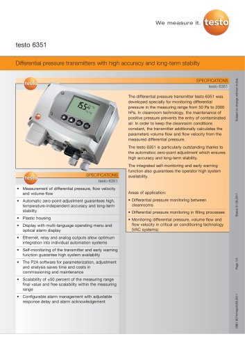 Differential pressure transmitters with high accuracy and long-term stabilty - testo 6351