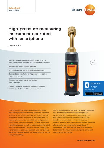 High-pressure measuring  instrument operated  with smartphone